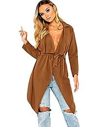 SODIAL Abrigo Chaqueta Largo Asimétrico De Cinturón De Solapa Cascada De  Moda De Mujer Cárdigan Abierto c6171a1ad5c6