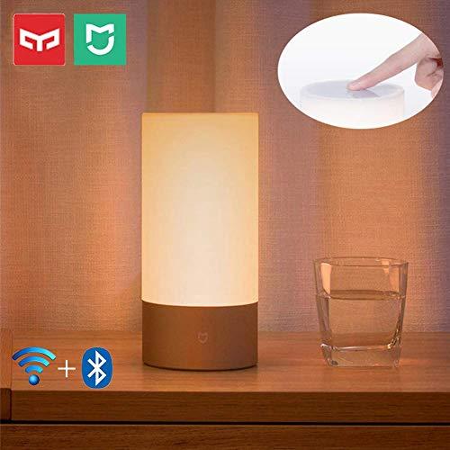 MIJIA Yeelight Lampe de Chevet 10W 300lm 1700K-6500K Veilleuse 16 Millions de Lampe de Bureau de Table RVB Lumière Ambiante Soutien Tactile Contrôle & WiFi App Contrôle et Connexion Bluetooth 4.2