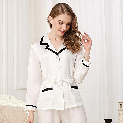 Classic Satin Pyjama Set (BEITAI Damen Classic Satin Pyjama Set Nachtwäsche Loungewear (Blau) (Color : White, Size : XXL))