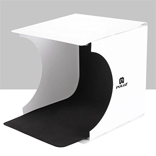 wortek Lichtzelt mit Beleuchtung mobiles Fotostudio Set mit Faltbarer Fotobox 24 x 23 x 22 cm (LxBxH), 2 Hintergründen (Schwarz und weiß), Integrierter LED Leuchte und Micro USB 2.0 Kabel 1m weiß