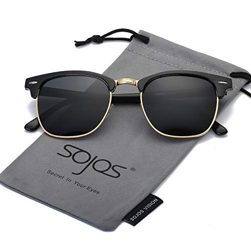 SOJOS Herren Brille Nerdbrille Brillenfassungen Wechselgläser Silikone Nasenpolster SJ5018 mit Schwarz Rahmen/Grau Linse