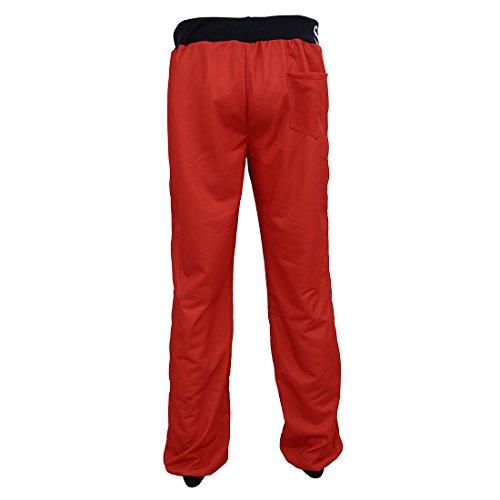 TOOGOO(R) uomini Cravatta elastica della stampa della vita della lettera che allunga gli pantaloni sportivi - Grigio + Blu M rosso + nero