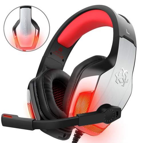 Gaming Headset für PS4 Xbox One PC Controller, DIZA100 V4 Gaming Kopfhörer mit Aluminiumgehäuse, Mikrofon, LED Light Bass Surround für Computer Laptop Mac Nintendo Switch Spiele (Für Computer Xbox Spiele)