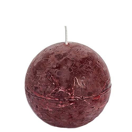 Spaas - Velas esféricas (6 Unidades, 80 mm de diámetro, Cera de parafina, Aroma a Vino), Color Rojo