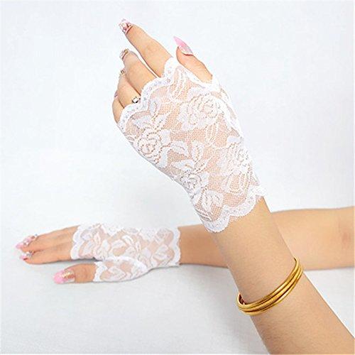 (SINOTECH Floral Spitze Fingerlose Damen Handschuhe–Elegantes Sexy Handschuhe für Halloween Fancy Kleider Hen Night Party Hochzeit, weiß, 13.5*8.5cm)