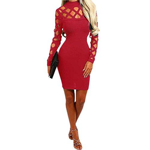 Minzhi Abito manica corta donna sexy manica corta a maniche lunghe con scollo a V Club Clubwear Rosso