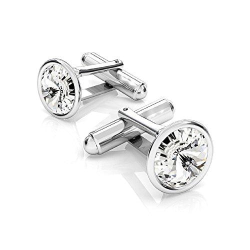Crystals & Stones, Eleganti gemelli in argento 925rodiato, da uomo, con Swarovski rivoli, PIN/75 e argento, colore: cristallo, cod. 7