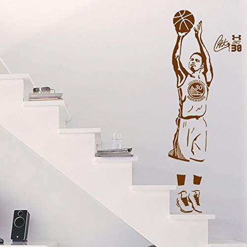 Sport Star Basketball Spieler Wandtattoos Stephen Curry Aufkleber Für Jungen Zimmer Und Schule Einfache Paste Mit Entfernbarem Klebstoff Aw9731S 44X120 Cm Brownother Farben