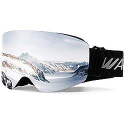 Wantdo Masque de Ski Anti-Brouillard Double Couches UV400 Protection Snowboard Motoneige Skate OTG Sports d'hiver Casque Compatible pour Adulte Unisexe Argent