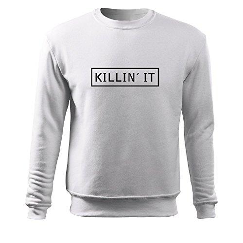 Herren Slim fit Pulli killin it Motiv Sweats-Top Shirt - witziges bedrucktes Achselshirt als kreative Geschenk Idee (60er Ideen Kleid Up Jahre)
