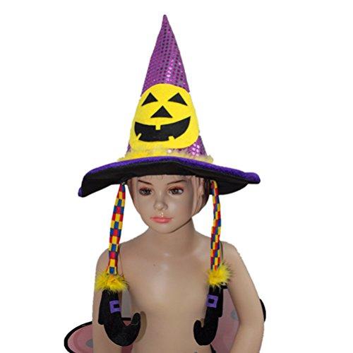 Kürbis Kostüm Mann Kopf - LUOEM Pailletten Hexe Zauberer Kürbis Kopf Hexe Hut Halloween Cosplay Kostüm Zubehör für Männer Frauen Kinder