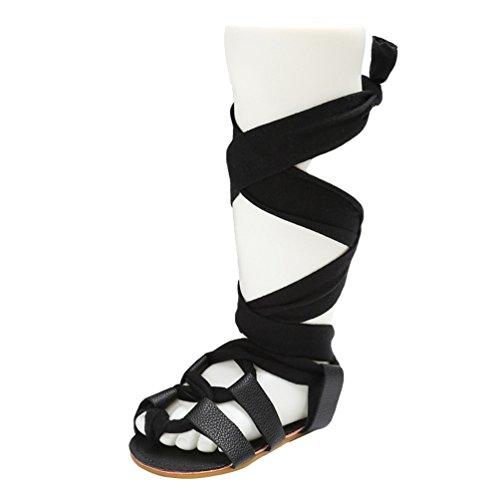 CHENGYANG Bambino Estivo Moda Ragazze Antiscivolo Scarpe Stile Gladiatore Bandage Sandali Nero