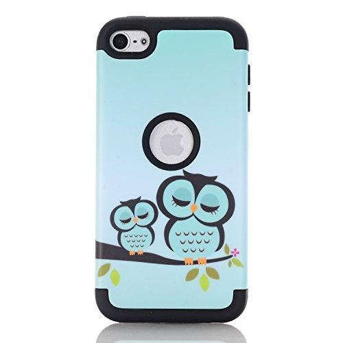 iPod Touch 5/6 Case, Heavy Duty [ Zwei Eulen-Muster] 3 Layer Harte Rüstung Anti-Kratzer PU Silikon Handyhülle Stoßfest Etui Shockproof Cover Tasche Schutzhülle für Apple iPod Touch 5 6 (Schwarz) (Ipod-taschen Eule)
