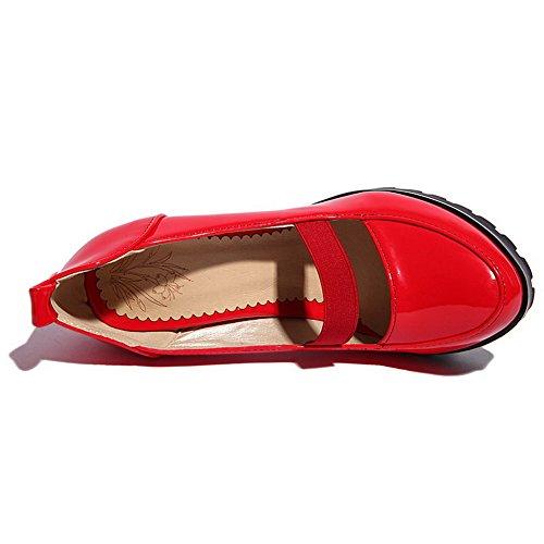 Senhoras De Bombas De Vermelho Sapatos Puro Fivela Alto Do Salto Dedo Pé Agoolar Pu Redondo Couro O0Owxr
