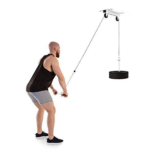 Klarfit Stronghold • Stazione fitness tramite Cavo di trazione • Cavo di 2 m • Acciaio • Peso max. 150 kg • installazione a soffitto • inclusa barra tricipiti e catena di estensione da 30 cm • bianco