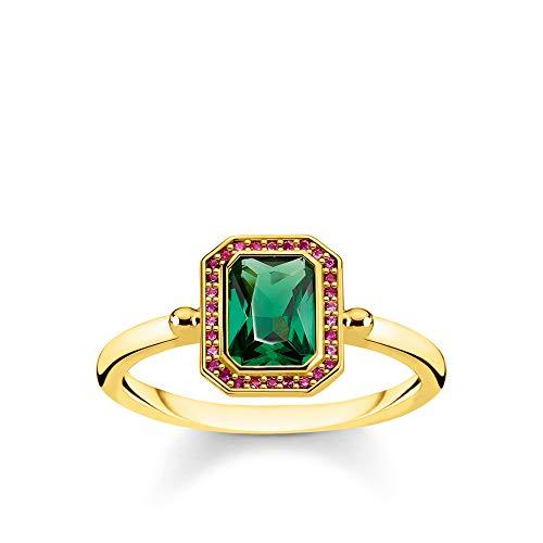 Thomas Sabo Damen-Ring Steine Rot & Grün gold 925 Sterlingsilber  gelbgold vergoldet gelbgoldfarben TR2264-973-7-50