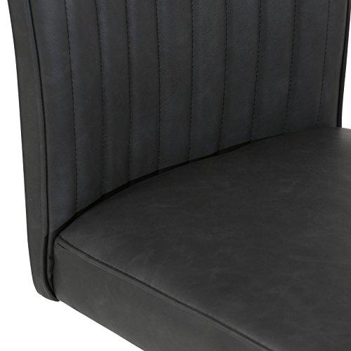 CARO-Möbel 4er Set Esszimmerstuhl Küchenstuhl Schwingstuhl Beverly, aus Wildlederimitat in schwarz, Metallgestelll in Chrom, im Vintage Stil - 4