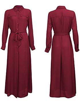 Nuevo vestido de manga larga camisa Maxi con cinturón tamaños EU 34 - 44