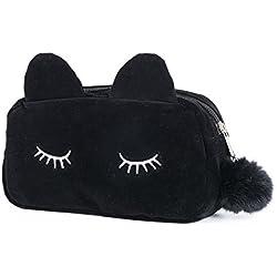 Bolsa de MaquillajeNeceser Estuche Maquillaje para MujerDiseño Gato Negro 19 * 5 * 12 cm Organizador Cosmeticos para Viajes Vacaciones Camping