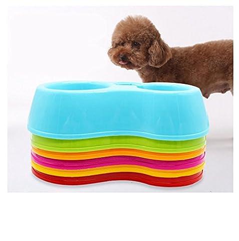 2 dans 1 Double Pet Water Food Bowl avec distributeur automatique d'eau Dog Cat Food Dish couleur au hasard