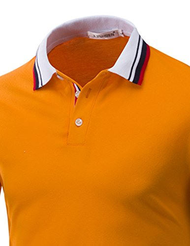 LIANIHK Polo Herren Baumwolle Poloshirt Kontrastfarben kurzarm M - 3XL Orange