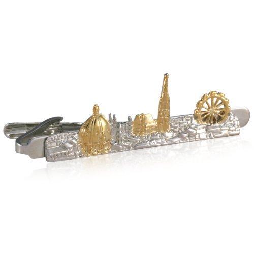 Preisvergleich Produktbild Krawattenklammer LINDENMANN,  Skyline Wien,  krawattenschonende hochwertige Alligator-Mechanik,  Rhodium veredelt (bicolor),  im schwarzen Geschenketui