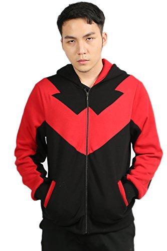 rbst Hoodie Cosplay Kostüm RotKapuzenpullover Baumwolle Sweatshirt Reißverschluss Kleidung Mantel (Nightwing Shirt Kostüm)