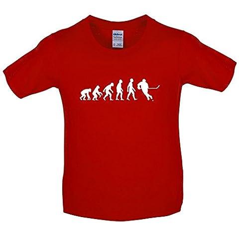 T-shirt Evolution of Man - motif joueur de hockey sur glace - enfant - 3-14 ans - 8 coloris - Rouge - L (9-11 ans)