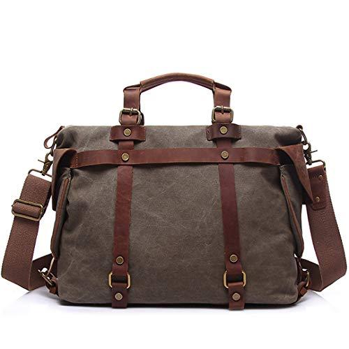 Weinlese-Handtaschen-Mann-Segeltuch-Leder-Geschäfts-Kuriertasche-männliche beiläufige Reisetaschen Gray Large