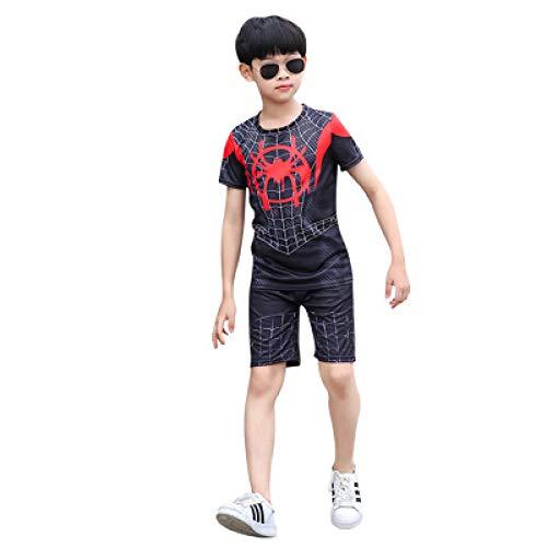 ZHANGQI Marvel Spiderman Kind T-Shirt Anzug Shorts Sportswear Schlafanzug Iron Man Batman Battle Endgame Kinder Halloween Kostüm Captain,Black-140cm
