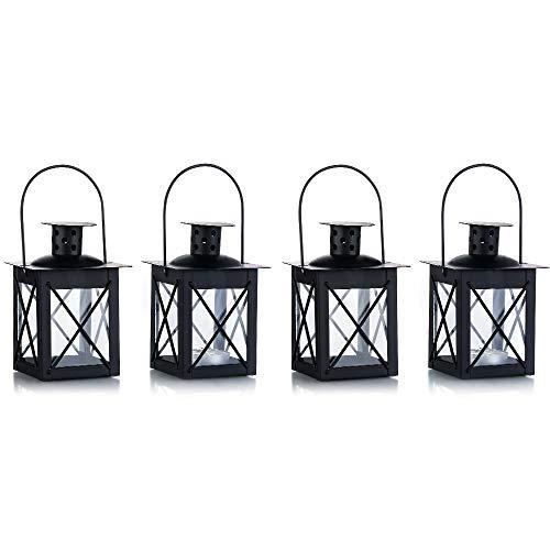 Boden / hängendes Glaswindlicht, Glas Windlicht mit Handgriff, Schmiedeeisen Vintage Windlicht, hängendes Dekorationslicht für Hause Hof, Schwarz -