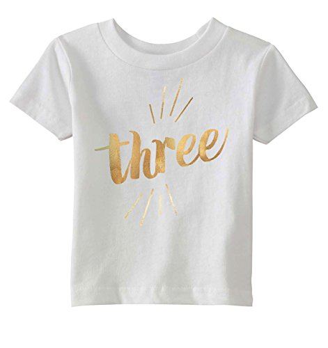 Crazy Dog TShirts - Toddler Three Years Old Gold Shimmer Application Cute Birthday T shirt - youth - Weib