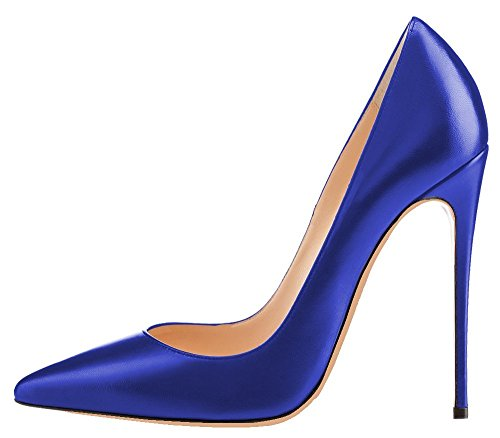 uBeauty - Escarpins Femmes - Chaussures Stilettos - Talon Aiguille - Grande Taille - Chaussures Femme Talons Bleu PU
