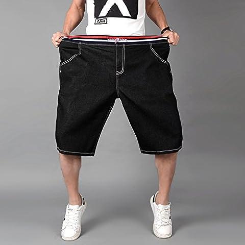 Herren Slim Jeans Shorts Hosen, Casual / Daily Beach Einfache Mid Rise Polyester Micro-elastischen Sommer, Schwarz, 6XL