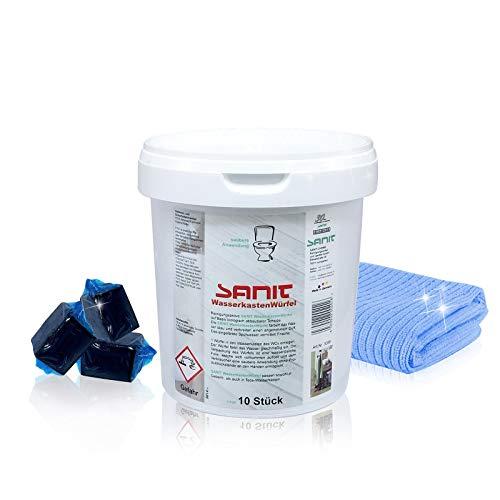 Sanit Wasserkastenwürfel I 10 Stück für 40 Wochen Frische im Badezimmer I Mit Gratis Microfasertuch by kör4u® I Made in Germany