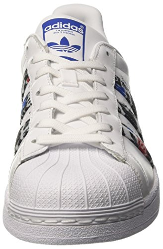 adidas Superstar, Baskets Basses Homme Blanc (Footwear White/Blue/Core Black)