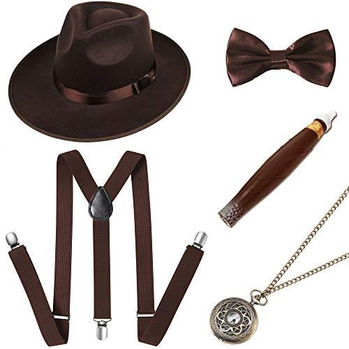 ArtiDeco 1920s Herren Accessoires Mafia Gatsby Kostüm Set inklusive Panama Gangster Hut Verstellbar Elastisch Hosenträger Herren Halsschleife Fliege Taschenuhr und Plastik Zigarre (Set-9)