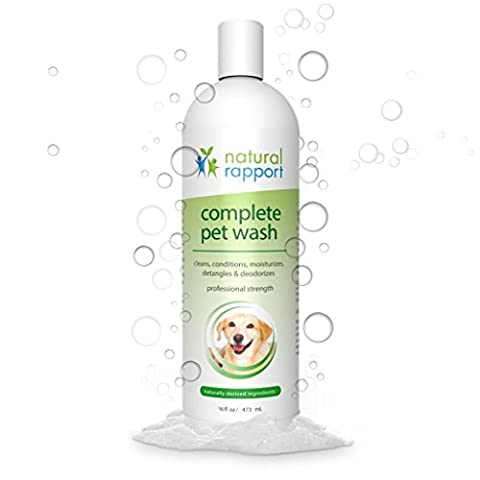Natural Rapport Dog Shampoo & Conditioner - With Oatmeal & Aloe - Complete 5-in-1 Natural Pet Wash Cleans, Conditions, Deodorizes, Moisturizes & Detangles - Amazing Fresh Scent Wipes Out Wet Dog Odor - 16 fl oz (473