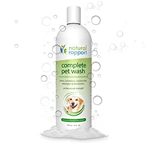 Natural Rapport Dog Shampoo & Conditioner - With Oatmeal & Aloe - Complete 5-in-1 Natural Pet Wash Cleans, Conditions, Deodorizes, Moisturizes & Detangles - Amazing Fresh Scent Wipes Out Wet Dog Odor - 16 fl oz (473 mL)