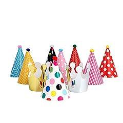 Idea Regalo - ysister 11 Pezzi Cappelli Festa Compleanno, Cappelli per la Festa Colorati Cappellini di Carta Compleanno Partito Cono Cappelli Colorati Festa Carnevale Accessorio Decorazione (9 Cappelli e 2 corone)