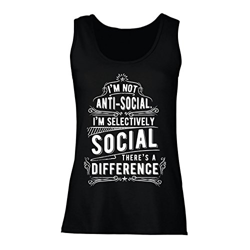 Camisetas sin Mangas para Mujer No Soy Antisocial Solo selectivamente Social, Gracioso Diciendo, Citas de Humor sarcástico (X-Large Negro
