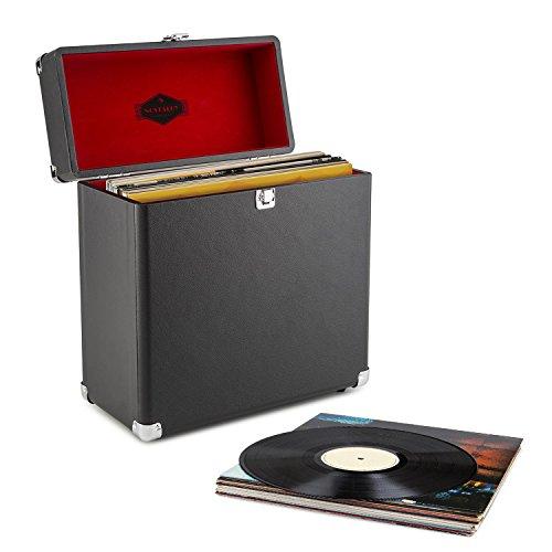 auna TTS6-BL  Schallplattenkoffer  Recordbox  Platten-Case  für 30 LP  Kunstleder  Retro-Design  Innenpolsterung aus Samt  Metallschutzecken  Schloß  Klappdeckel  Tragehenkel  Standfüße  einfach Reinigung  stabil  schwarz (Auf Platte Zugriff)
