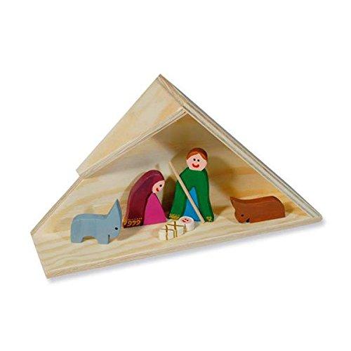 matches21 Weihnachtskrippe Krippe mit Figuren Laubsägevorlage aus Holz Bausatz Bastelset Werkset f. Kinder ab 12 Jahren