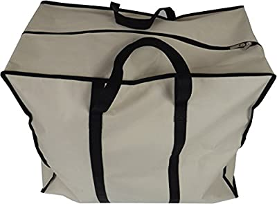 Neusu Large Clothes Storage Bag - 70 Litre Capacity Strong Storage Bag (55cm x 45cm x 30cm) - Heavy Duty 600D Polyester Material With 360-Degree Web Reinforced Handles - Versatile: Clothing, Bedding, Duvets, Pillows For Storing Or Travel - Beige - low-cos
