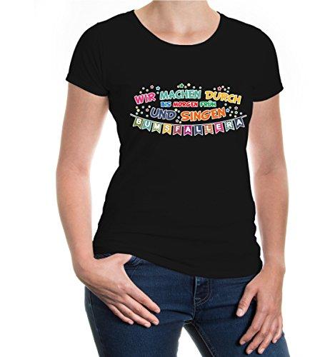buXsbaum® Girlie T-Shirt Wir machen durch bis morgen früh und singen Bumsfallera Black-z-direct