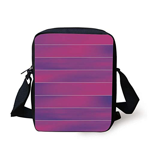 Hot Pink,Horizontal Color Bands Stripes with Fluorescent Effect and Soft Transitions Print Decorative,Pink Violet Print Kids Crossbody Messenger Bag Purse