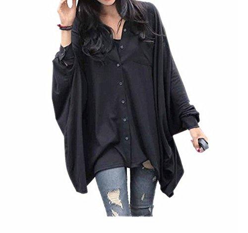 Arrowhunt Ladies Girls Black Bat Shirt Loose Blouses Buttons Shirt
