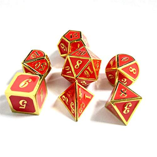 Sunnay 7 Stück Metall Würfel DND Polyhedral Solid Metall D&D Würfel Nickel Set mit Zahlen,Einsteigerset A7 Stil - 7 Stück Metall