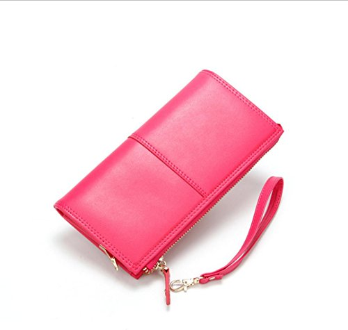 Heart&M Einfache weibliche Temperament Felder atmen süßen Reißverschluss Geldbörse Leder Rindsleder Leder Clutch-Tasche Geldbörse rose red