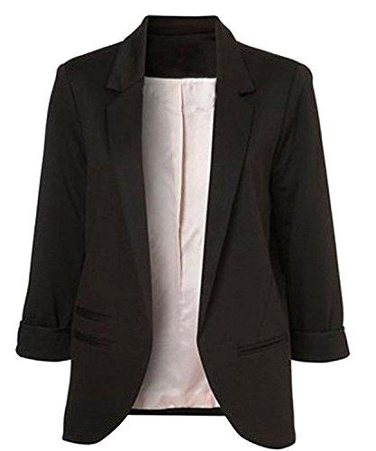 Winfon Damen Taillierter Blazer Baumwolle 3/4-Arm Business Kurzblazer Cardigan Outwear (XS, Schwarz)